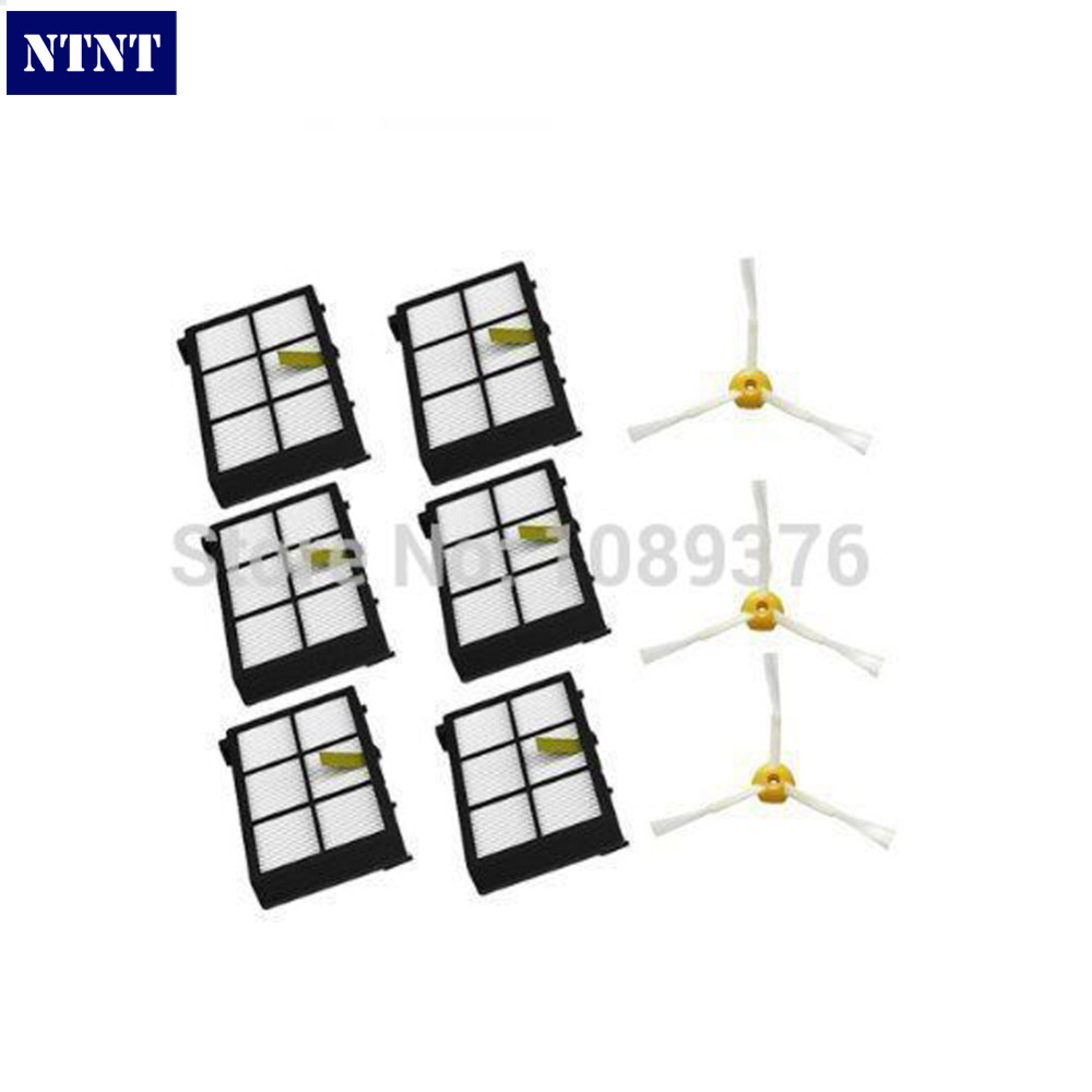 NTNT Free Post Shipping New 6 x Hepa filters + 3 armed side brushes kit For iRobot Roomba 800 series 880 870 ntnt free post shipping 6 pcs hepa filter parts kit for irobot roomba 800 series 870 880 vacuum cleaner