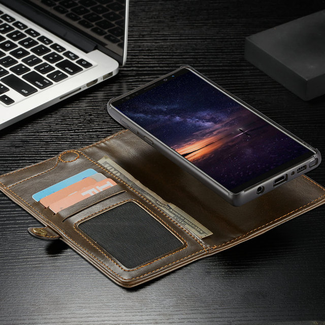 CaseMe Wallet Case For Samsung Galaxy Note 9 with Wrist Strap Wireless Charging Magnetic 2 in 1 Flip Purse Detachable Phone Case