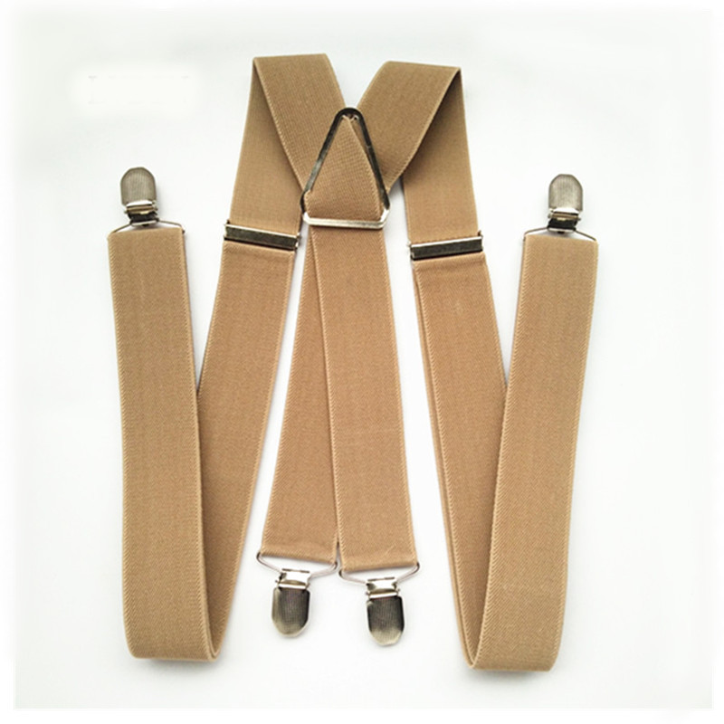 BD054-L XL Size 2018 New Tan Color 3.5 Width 4 Clips Adult Suspenders Adjustable Elastic X Back Pants Braces Suspender For Men ...