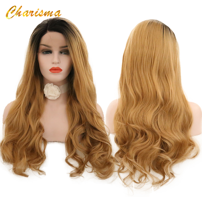 Charisma Body Wave Lace Front Wigs Long Ombre Blonde Wig 180% High Density Synthetic Lace Front Wig For Women Wigs-in Synthetic None-Lace  Wigs from Hair Extensions & Wigs    1