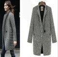 Invierno de las mujeres elegantes abrigos de lana gris de algodón caliente trench laides chaqueta de terciopelo grueso largo abrigo casacos femininos A150