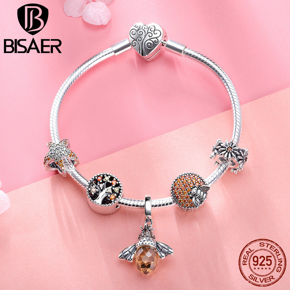925 Sterling Silver Bracelets Fashion Bee Crystal Tree of Life Femme Bracelets Bangles for Women Authentic