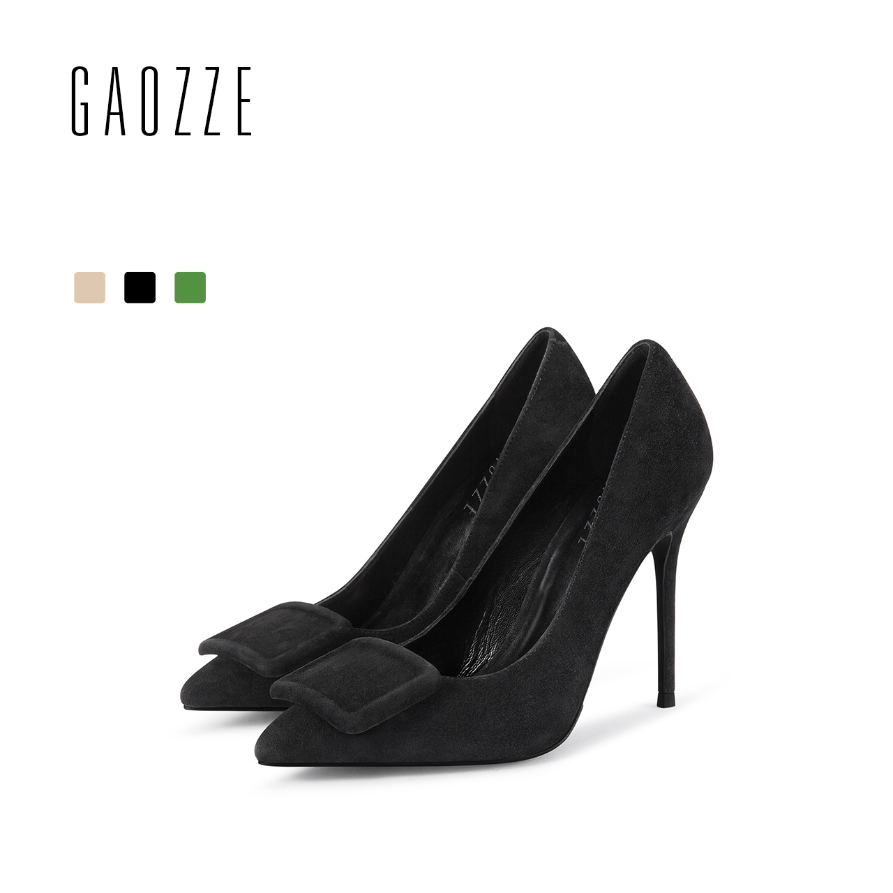 GAOZZE Fashion Buckle Women Pumps Shoes 2018 Spring New Suede Leather Pointed Toe Sexy High Heel Women Black Formal Dress Shoes black smooth leather women pointed toe ankle buckle pumps deep v back ladies blade heel shoes spring fashion female dress shoes