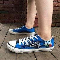 Wen Hand Painted Shoes Design Custom Men Women's Shoes Phantom Of The Opera Low Top Man Woman's Blue Canvas Sneakers