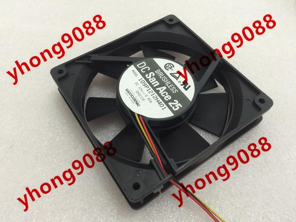 Sanyo 109P1212H401 DC 12V 0.45A 65mm 120x120x25mm Server Square Fan sanyo 109p1212h4d01 server square cooling fan dc 12v 0 45a 120x120x25mm 3 wire
