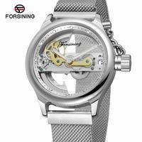 Forsining 2018 Design Transparent Case Skeleton Dial Golden Bezel Silver Mesh Band Men Automatic Wrist Watches