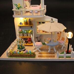 Image 4 - DIY בית בובות מיניאטורות עץ בית בובות Miniaturas ריהוט בית צעצוע בובת צעצועי מתנת בית תפאורה קרפט צלמיות M33