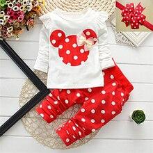T-shirt) мульти-цвета (брюки dot рождество девочка девушка одежды ребенка комплект хлопок