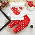 Moda 2016 Do Bebê Conjunto de Algodão Dot Bebê Menina Roupa Dos Miúdos Conjunto de Roupas Menina (calça + T-camisa) Terno do natal Para O Bebê Mutli-Cores