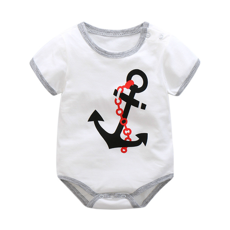 2017 Baby Romper Girl and Boy Short Sleeve Monkey Print Summer Clothing for Newborn Jumpsuits & Rompers Infant clothes 3M stylish scoop neck half sleeve argyle print women s romper