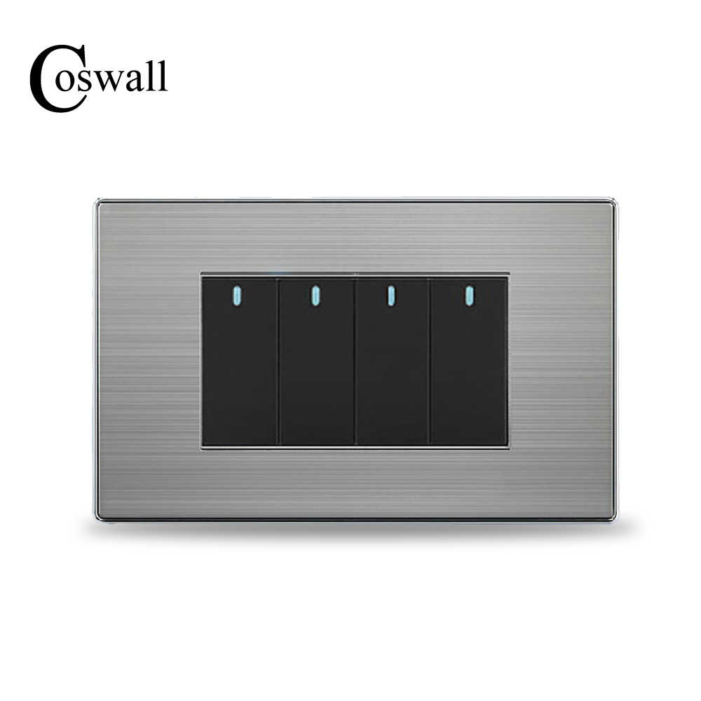 COSWALL US Standard 4 Gang 2 Way Light Switch On / Off Wall Switch Stainless Steel Panel 118mm * 72mm