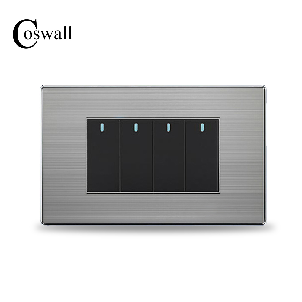 COSWALL US Standard 4 Gang 2 Way Light Switch Push Button Wall Switch Stainless Steel Panel 118mm * 72mm high quality e9 series brushed stainless steel gold wall switch with fluorescence 4 gang 1 way single control switch panel
