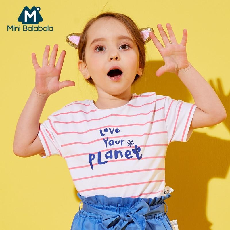 Mini Balabala Toddler Girl 100% Soft Cotton Striped Short-sleeved T-shirt in Print Children Kid Ribbed Crewneck T-shirt Tee Top