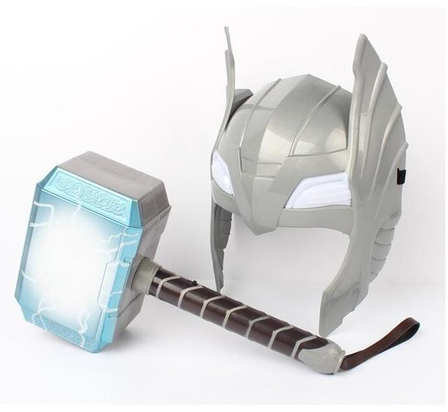 [Funny] Child Cosplay The Avengers 2 Thor LED light luminous sounding Helmet Weapon hammer quake model toy Costume party gift