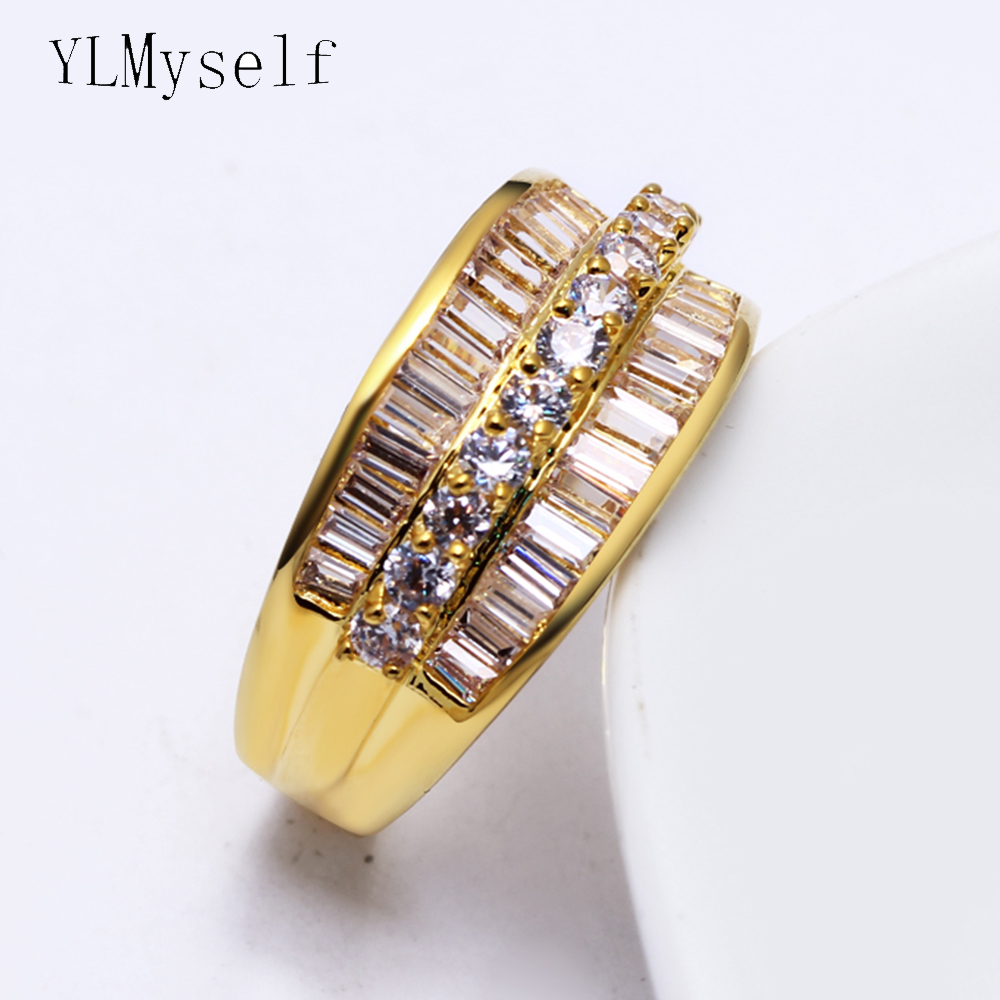 Last stock clean sale nice ring Gold color Pave shiny cubic Zirconia crystal finger rings beauty daily jewelry