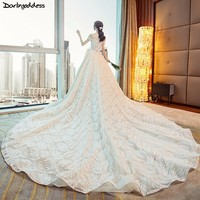 Luxury Lace Princess Wedding Dresses 2018 Sweetheart Neck Beaded Royal Train Ball Gown Bridal Dress Plus Size Vestido de Noiva