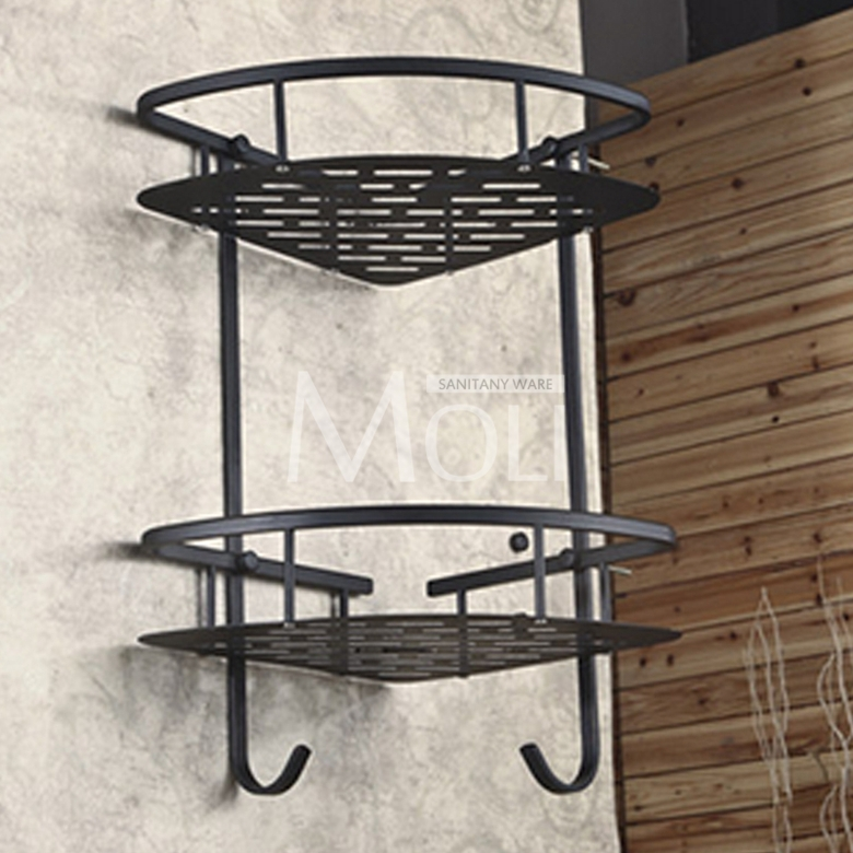 Oil rubbed bronze corner basket wall mounted bathroom shelf dual ...