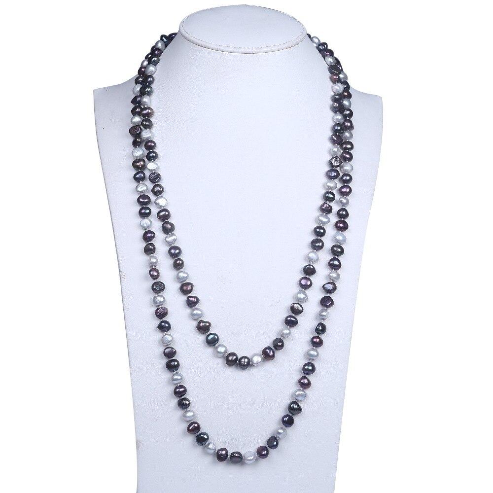 2016 Elegant 9 10mm Black White Baroque Freshwater Pearl Beaded Necklace