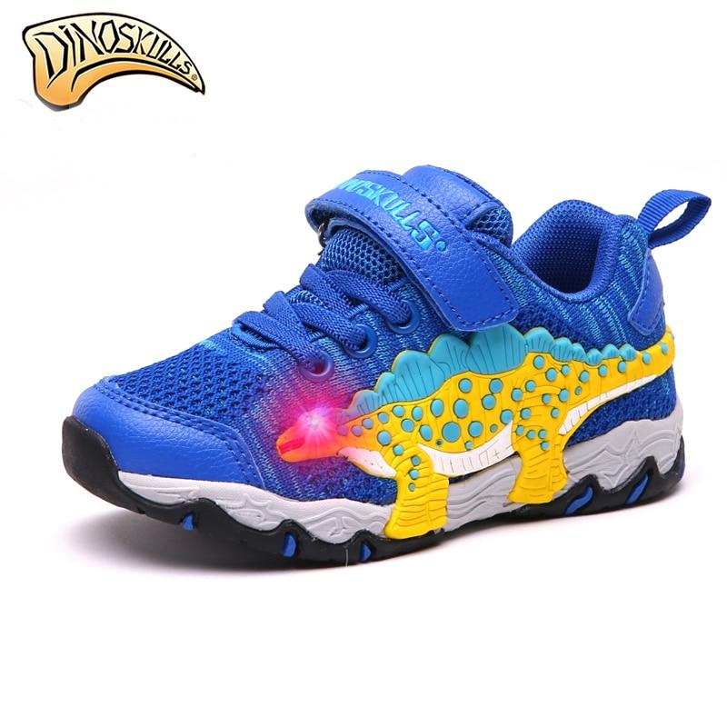 Dinoskulls 어린이 신발 빛나는 어린이 빛나는 스 니 커 즈 통기성 Tenis Led 조명 소년 신발 3D 공룡 신발 27-34