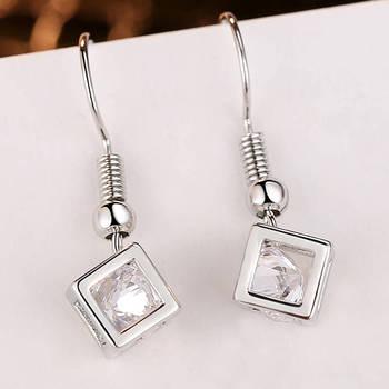 Women Luxur Zircon Earrings Cube Creative CZ Earrings Gold Transparent For Women Women Wedding Engagement Jewelry Accessories Fine Jewellery Jewellery & Watches Women's Fashion