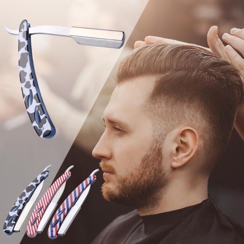 Stainless Steel Straight Edge Razor Folding Shaver Knife Barber Razor  Facial Hair Eyebrow Beard Shave Shaving Tool