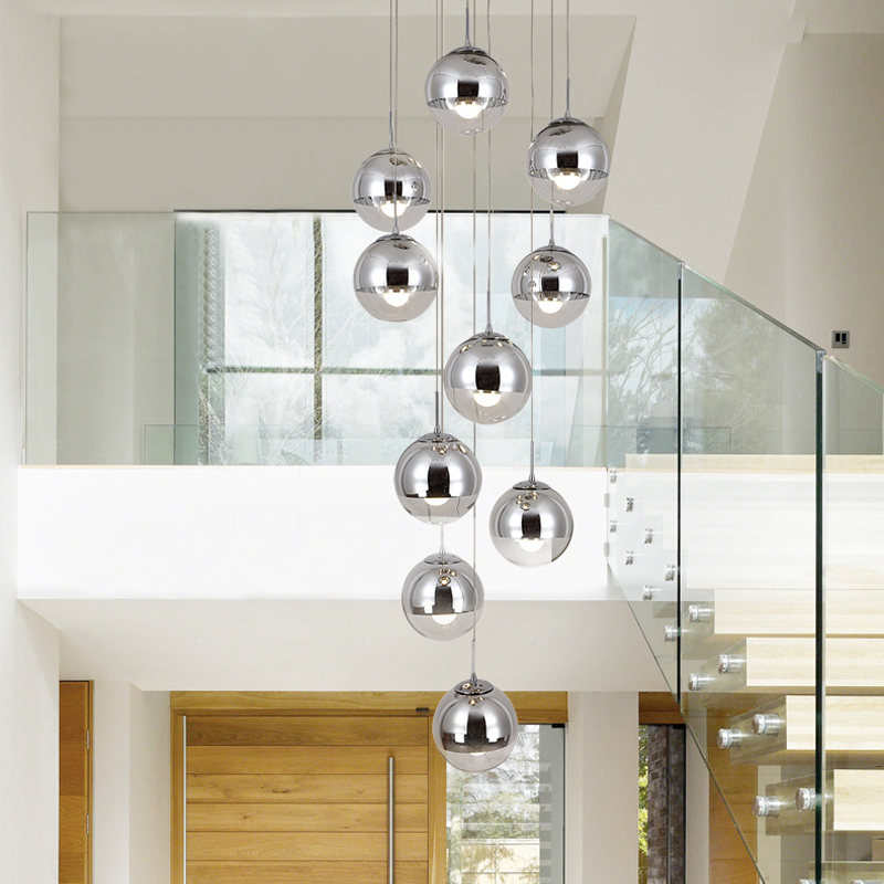 Modern led Pendant light Nordic Creative Stair Lamp Living Room Restaurant Glass Hanging Lamp Double Staircase Long Pendant Lamp free shipping ems 3 head modern brief white glass ball pendant light restaurant lamp living room lights stair pendant lamp