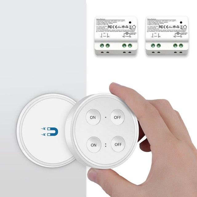 Interruptor de luz inalámbrico Control remoto Dual ON OFF 220 V hasta 200 m interruptor de pared o portátil sin cables fácil de instalar en cualquier lugar