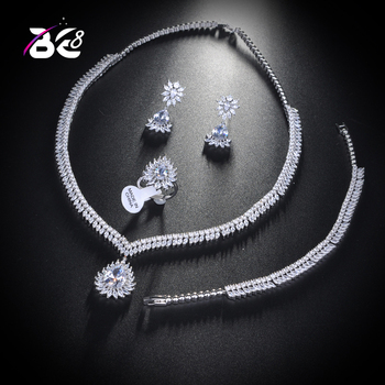 Be 8 Sparking Luxury Bridal Wedding Jewelry Sets AAA Cubic Zircon 4pcs Jewelry Set for Women Fashion Jewelry Dinner Party S158