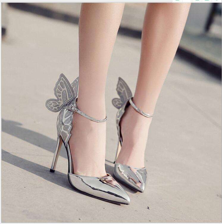 Stiletto High Heels Shoes Woman Sexy Multicolor Summer Angel Wings Sandals Shoes Thin Heels Wedding Party Pumps Dress Shoes Sexy