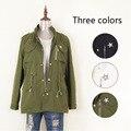 Venda quente da Primavera Outono Marca Casuais Casaco de Trincheira Das Mulheres Plus Size Bordado Com Cordão Exército Verde Casacos Outerwear Encabeça Femme