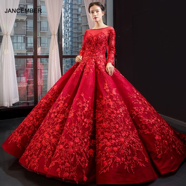 J66699 jancember red quinceanera dresses ball gown full shoulder long sleeve sweet puffy dresses luxury vestido de quinceanera