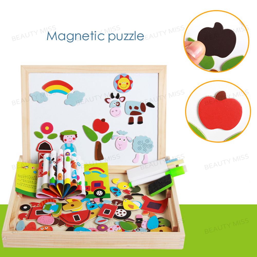 Wooden Farm Magnetic easel board Jigsaw Puzzle Toy Box with Blackboard & Whiteboard for children to draw mylb educational farm jungle animal wooden magnetic puzzle toys for children kids jigsaw baby s drawing easel board