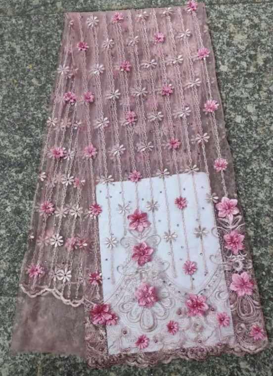 2019 Mới phong cách Pháp vải ren lưới 3D hoa vải tuyn Phi ren vải chất lượng cao Tối màu xanh lá cây vải ren châu phi hd5-4