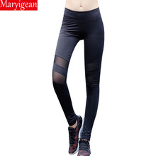 Maryigean 2019 Sexy Women Leggings Gothic Insert Mesh Design Trousers Pants Plus Size Black Sportswear Fitness Workout Leggings side panel mesh insert camo leggings