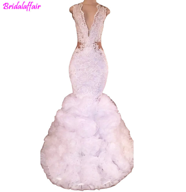 5fac94ff597fe4 2018 White Women Sex Deep V Neck Lace Mermaid Long Prom Dresses Tulle  Floral Ruffles Backless Formal Party Evening Dresses