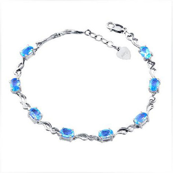 2017 Rushed Qi Xuan_Free Mail Blue Stone Elegant Bracelets_S925 Solid Silver Blue Fashion Bracelets_Manufacturer Directly Sales