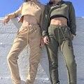Harajuku Casual Capucha Recortada Tops + Pantalones Casuales Pantalones de Chándal Mujeres Suéter Chándal Conjunto Femenino