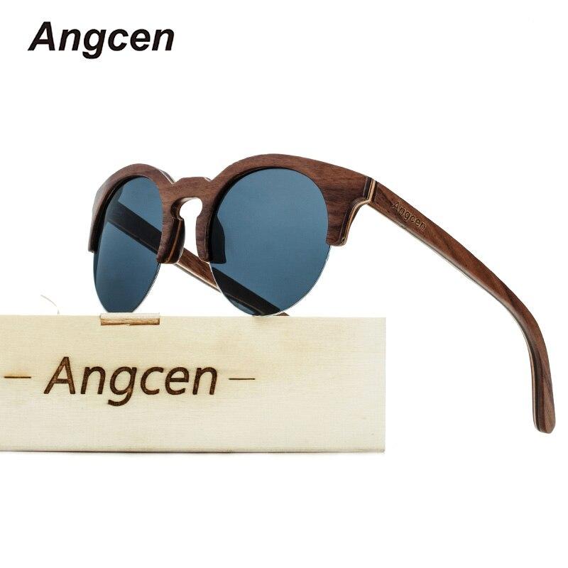 Angcen Fashion Half Frame Round Wooden glasses Men and Woman Polarized by Handmade women vintage Eyewear UV400 Sunglasses