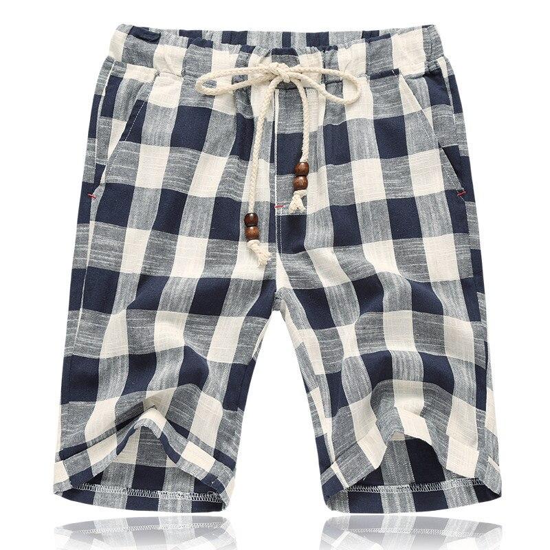 Men's Summer Linen Shorts 2019 New Summer Style Plaid Beach Shorts Male Pink Gray Knee Length Beach Linen Short Men Plaid Shorts