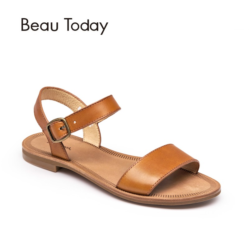 BeauToday Flat Sandals Women Brand Summer Genuine Cow Leather Slingback Buckle Sandal Good Quality Shoes Handmade 32040 2015 summer new fashion and leisure solid cool women sandls flat buckle knot women sandal breathable comfort women sandals e309