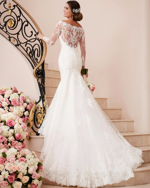 9f6f474818e Vestido De Noiva Bridal Gown China Rustic Lace Long Sleeve Mermaid Wedding  Dress Vintage Simple Sexy Women Wedding Dress 2019