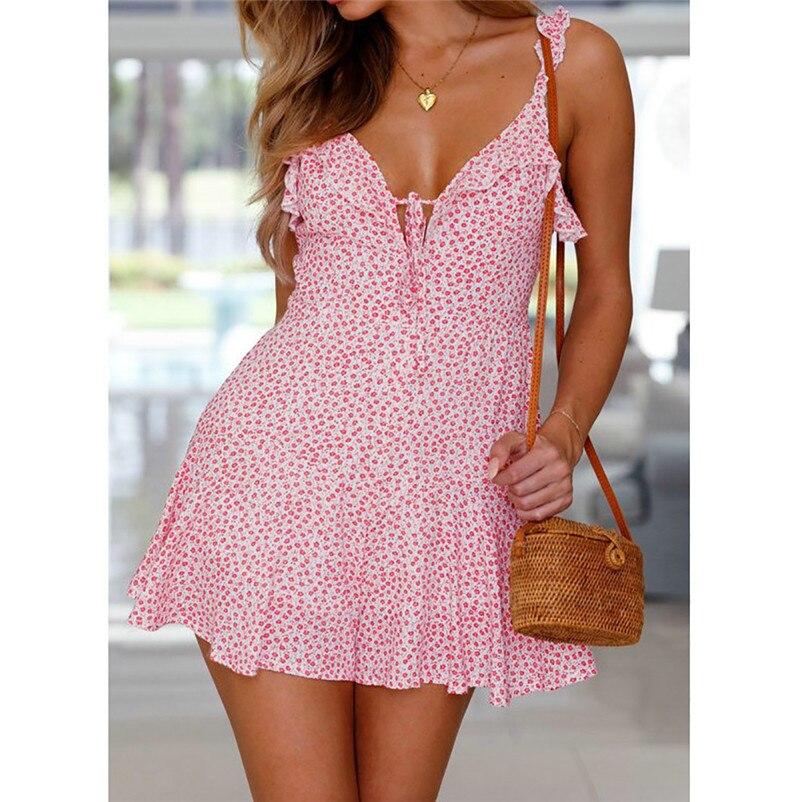 Fashion summer dress 2018 beach dress Womens Holiday Floral Print Dress Ladies Summer Beach Sleeveless Party Dress robe Y09#N (8)