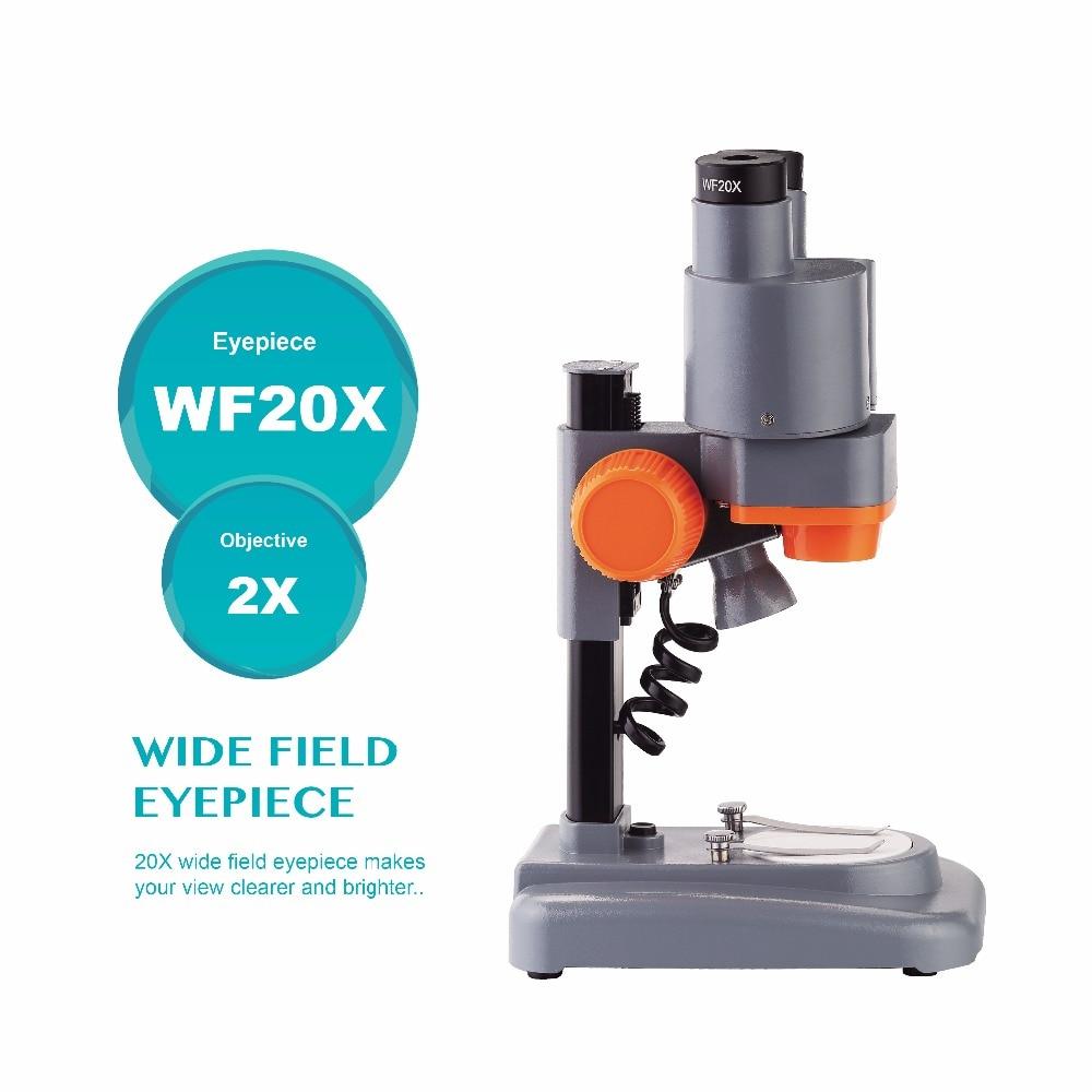 Tools : AOMEKIE 40X Binocular Stereo Microscope Top LED PCB Solder Mineral Specimen Watching Kids Science Education Phone Repair Tool
