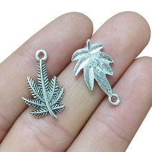 TJP 20pcs Antique Silver Tone Maple Leaf Charms Pendants Beads for DIY Necklace Bracelet Jewelry Making Findings 23x13mm