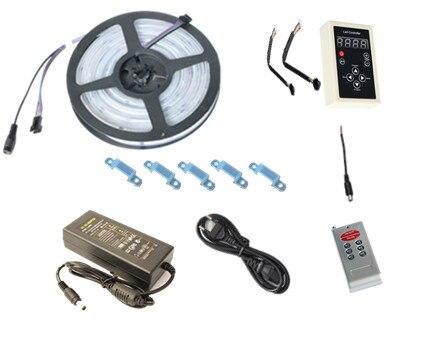 DC12V 5 M numérique RGB 133 rêve couleur 6803 IC LED étanche bande 5050 + RF télécommande + 3A LED d'alimentation RGB kit