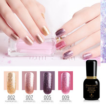 Clever Lady 8ml platinum gel nail polish uv led sequins glitter sparkle varnish lacquer set unhas de French manicure
