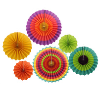6pcs Set 8 12 16 Fiesta Colorful Paper Fans Round Wheel Disc For Party Wedding Event