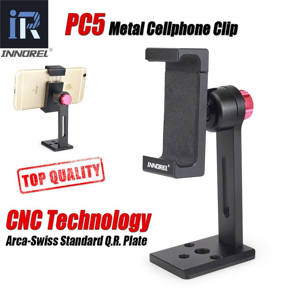 INNOREL PC5 Clipe de Liga de Alumínio De Metal Telefone Celular Smartphone Titular Tripé Montar 360 suporte Ajustável Do Telefone Móvel Braçadeira