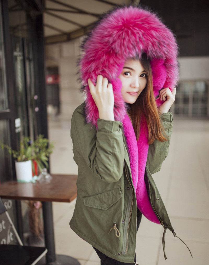 203cbf959ae16 C34 winter Womens Faux Fur Lining Parka Jacket Woman Green Army Raccoon Fur  Collar Hooded Warm Parkas multi color Coat Tops