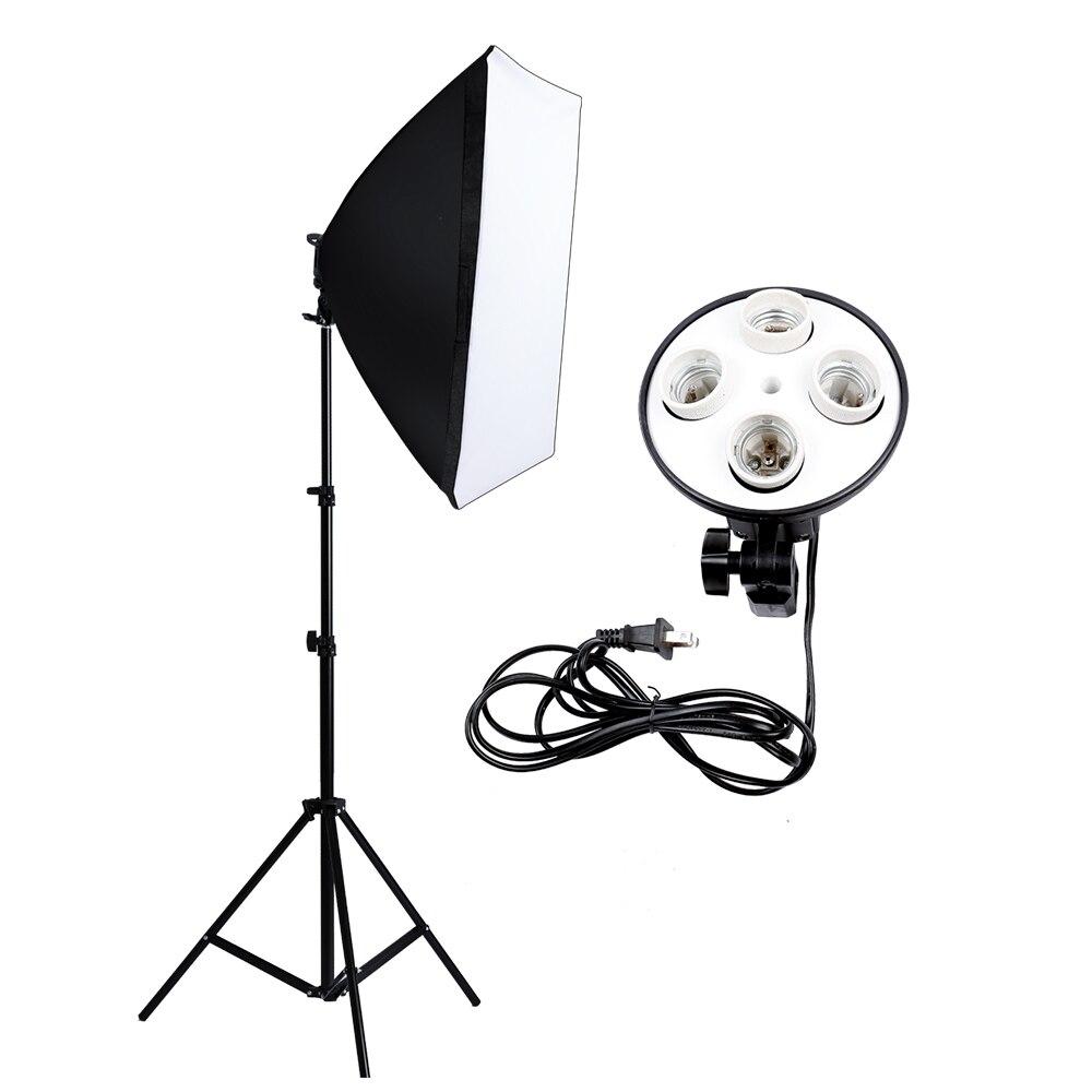 Soft Box Photography Lighting Kit Photo Studio Equipment Photo Model Portraits Shooting Box+4 Socket Lamp Holder+2m Light Stand